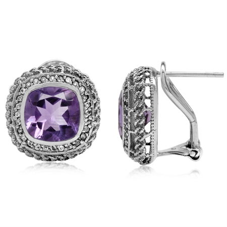 5.4ct. Natural Amethyst White Gold Plate 925 Sterling Silver Rope Knot Omega Clip Post Earrings