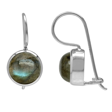 8MM Labradorite White Gold Plated 925 Sterling Silver Hook Closure Earrings