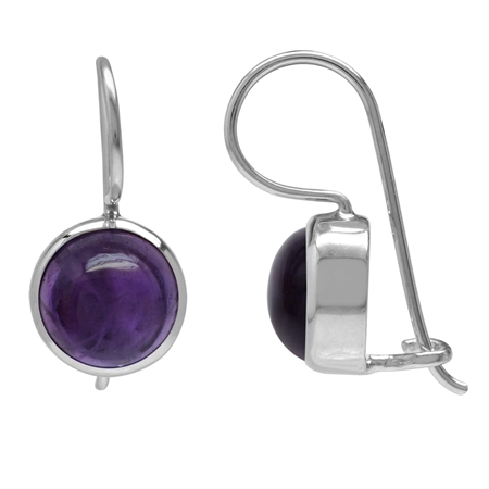 8MM Cabochon Amethyst White Gold Plated 925 Sterling Silver Hook Closure Earrings