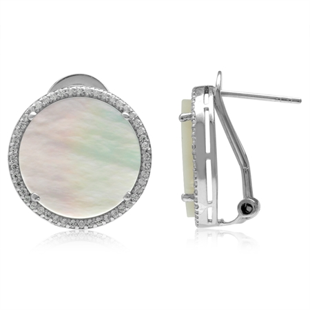 15MM Round Disc Shape White Mother Of Pearl 925 Sterling Silver Omega Clip Post Earrings