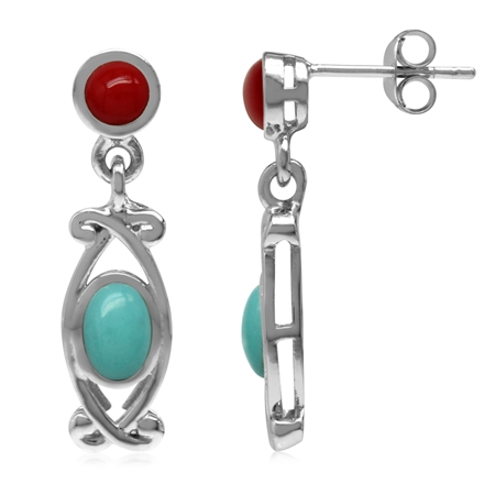 Created Green Turquoise & Red Coral 925 Sterling Silver Victorian Style Dangle Post Earrings