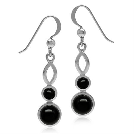 Genuine Round Shape Black Onyx White Gold Plated 925 Sterling Silver Dangle Hook Earrings