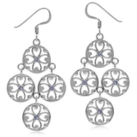 Genuine Tanzanite White Gold Plated 925 Sterling Silver Victorian Style Flower Chandelier Earrings