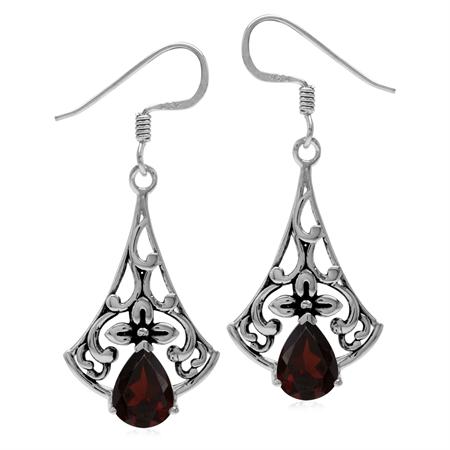 3.02ct. Natural Garnet 925 Sterling Silver Flower Vintage Inspired Drop Dangle Hook Earrings