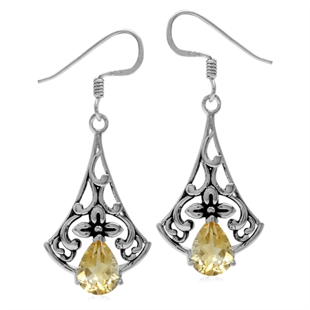 2ct. Natural Citrine 925 Sterling Silver Flower Vintage Inspired Drop Dangle Hook Earrings