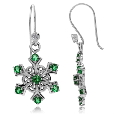 Tsavorite Green CZ 925 Sterling Silver Snowflake Cluster Dangle Hook Earrings