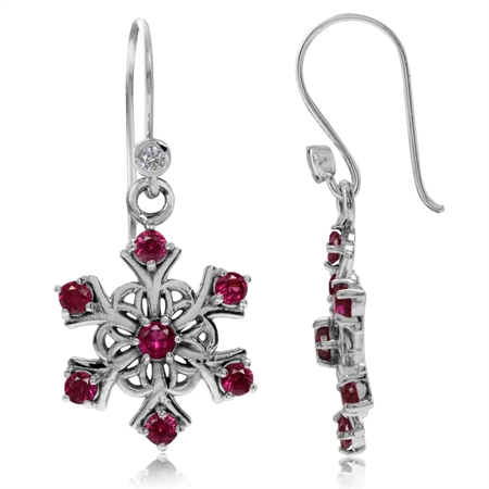 Synthetic Red Ruby 925 Sterling Silver Snowflake Cluster Dangle Hook Earrings