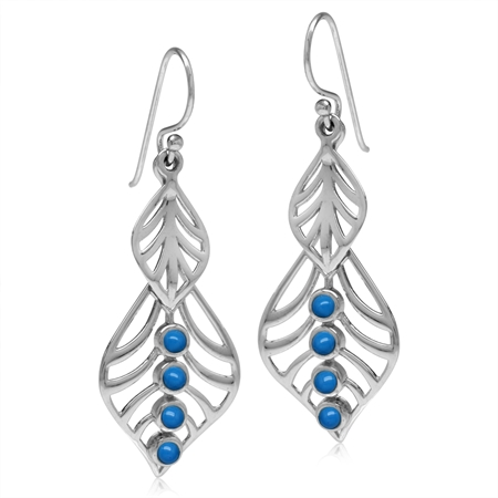Created Blue Turquoise White Gold Plated 925 Sterling Silver Filigree Leaf Dangle Hook Earrings
