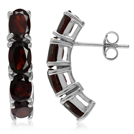 4.64ct. Natural Oval Shape Garnet White Gold Plated 925 Sterling Silver Post Earrings