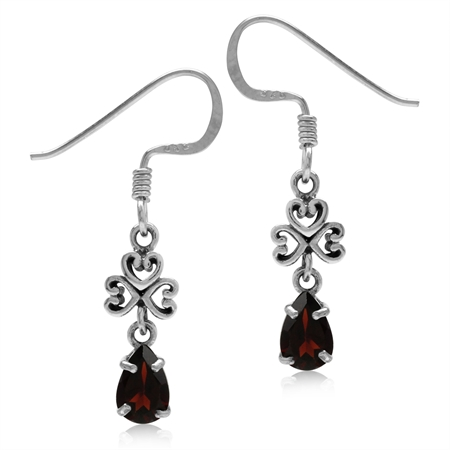 Petite Natural Garnet 925 Sterling Silver Filigree Heart Dangle Hook Earrings
