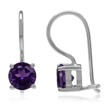 1.24ct. 6MM Natural Round Shape African Amethyst 925 Sterling Silver Closure Hook Earrings