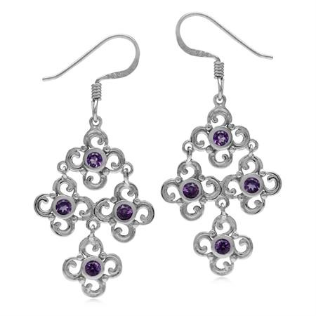 Natural African Amethyst White Gold Plated 925 Sterling Silver Flower Chandelier Earrings