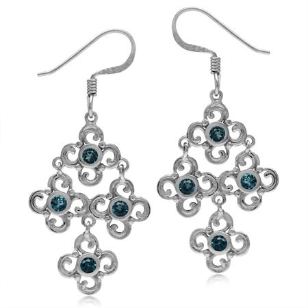 Genuine London Blue Topaz White Gold Plated 925 Sterling Silver Flower Chandelier Earrings