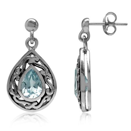 1.8ct. 7x5MM Genuine Pear Shape Blue Topaz 925 Sterling Silver Filigree Drop Dangle Post Earrings