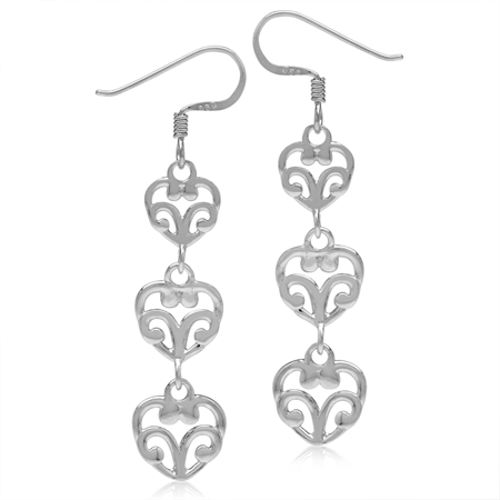 White Gold Plated 925 Sterling Silver Graduated 3-Heart Victorian Style Dangle Hook Earrings