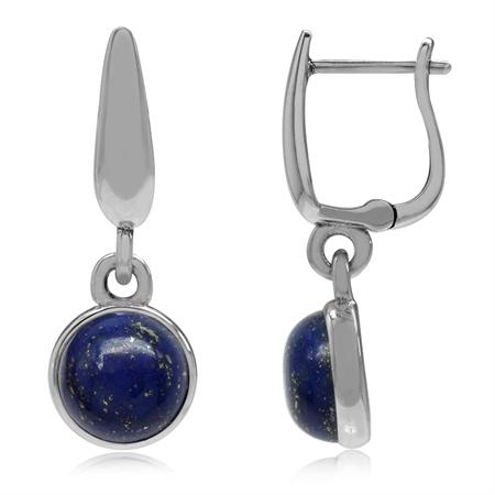 925 Sterling Silver Huggie Hoop Earrings w/ Genuine Lapis Dangle Drop