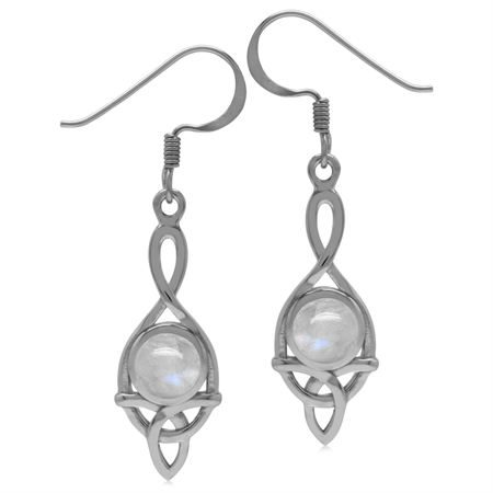 6MM Natural Round Shape Moonstone 925 Sterling Silver Triquetra Celtic Knot Dangle Hook Earrings
