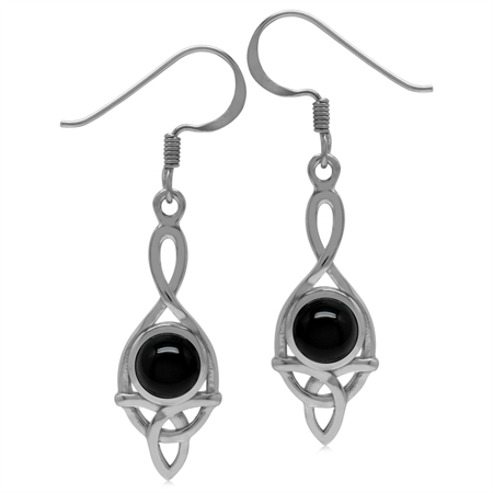 6MM Genuine Round Shape Black Onyx 925 Sterling Silver Triquetra Celtic Knot Dangle Hook Earrings