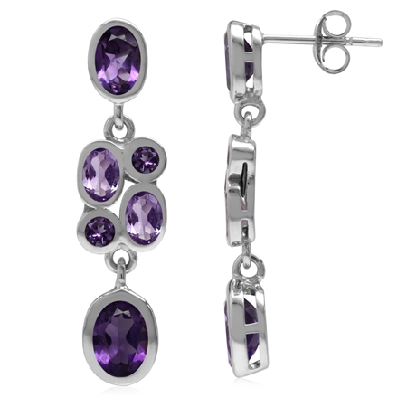 Natural African Amethyst White Gold Plated 925 Sterling Silver Cluster Dangle Post Earrings