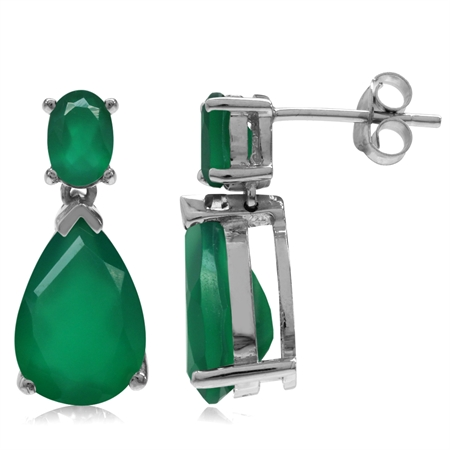 6.2ct. 12x8MM Natural Pear Shape Emerald Green Agate 925 Sterling Silver Drop Dangle Post Earrings