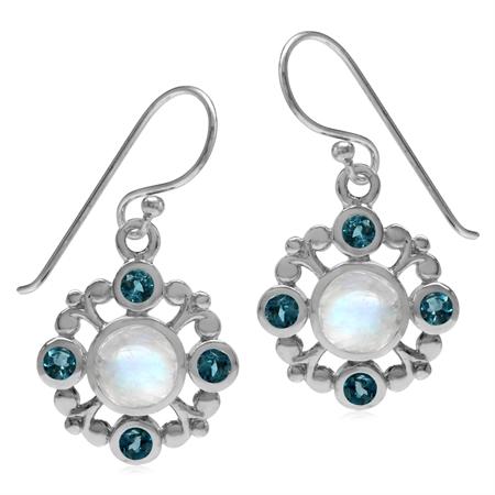 Natural 6MM Moonstone & London Blue Topaz 925 Sterling Silver Filigree Flower Dangle Hook Earrings
