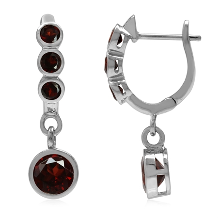 2.9ct. Natural Round Shape Garnet White Gold Plated 925 Sterling Silver English Hook Earrings