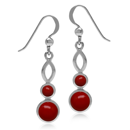 Created Round Shape Red Coral White Gold Plated 925 Sterling Silver Dangle Hook Earrings