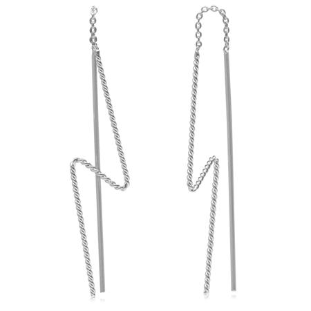 Long Stick Thunder Inspired 925 Sterling Silver Minimalist Threader Earrings