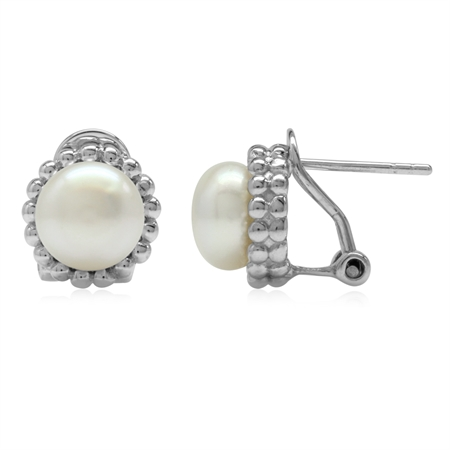 8MM Cultured Freshwater White Pearl 925 Sterling Silver Beaded Ball Pattern Omega Clip Post Earrings