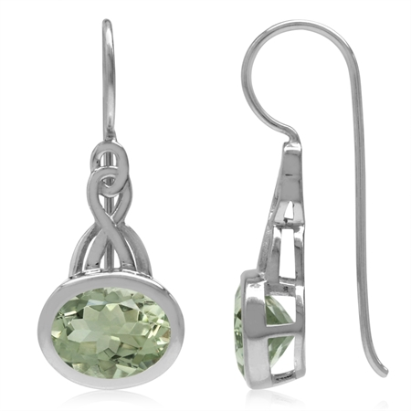 3.28ct. 9x7MM Natural Oval Shape Green Amethyst 925 Sterling Silver Celtic Knot Hook Earrings
