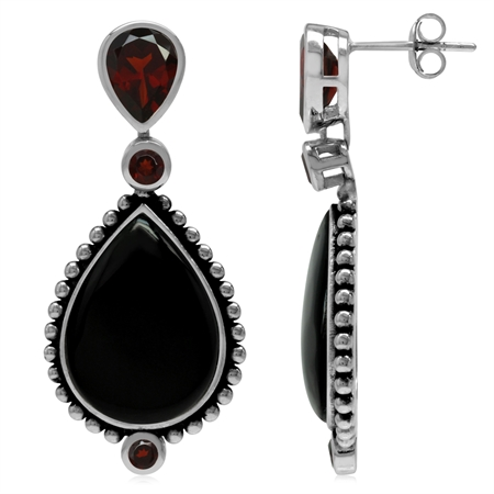 Natural Garnet & Created Black Onyx 925 Sterling Silver Balinese Style Drop Dangle Post Earrings