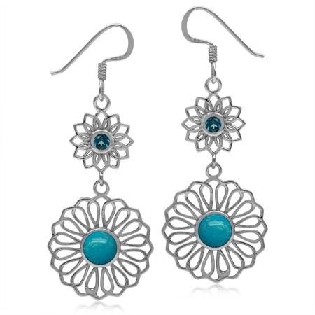 6MM Genuine Arizona Turquoise&London Blue Topaz 925 Sterling Silver Filigree Flower Dangle Earrings
