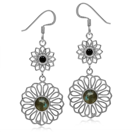 6MM Labradorite & Black Spinel White Gold Plated 925 Sterling Silver Filigree Flower Dangle Earrings