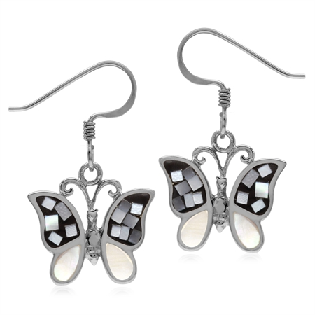 White Mother of Pearl & Created Black Onyx 925 Sterling Silver Butterfly Dangle Hook Earrings