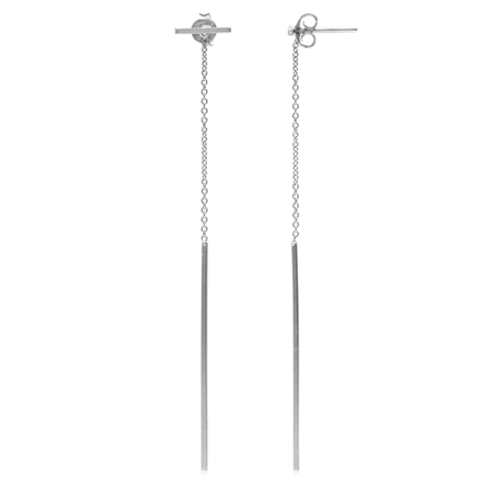 2-Way Wear T-Bar Stick Stud w/Dangling Chain 925 Sterling Silver Earrings