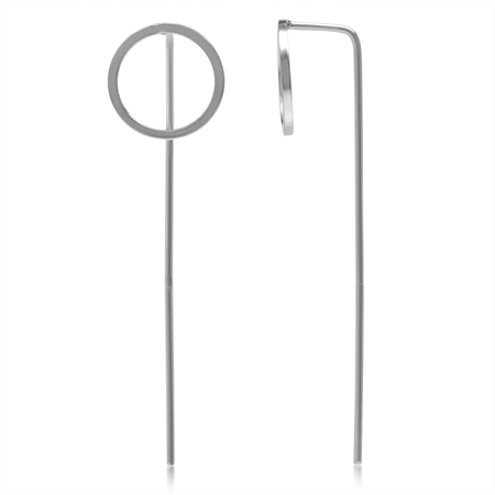 Geometric Circle White Gold Plated 925 Sterling Silver Minimalist Threader Stick Earrings