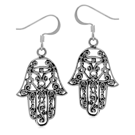 925 Sterling Silver Filigree Hamsa Hand Dangle Hook Earrings