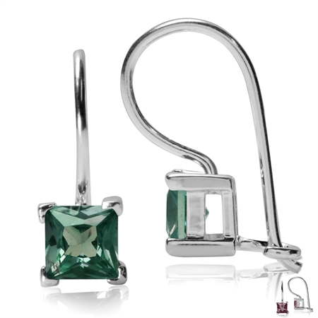 5MM Square Shape Simulated Color Change Alexandrite 925 Sterling Silver Closure Hook Earrings