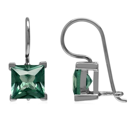 7MM Square Shape Simulated Color Change Alexandrite 925 Sterling Silver Closure Hook Earrings