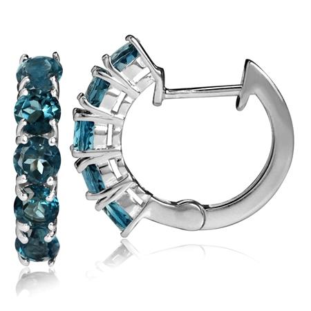 2.1ct. 5-Stone Genuine London Blue Topaz White Gold Plated 925 Sterling Silver Huggie/Hoop Earrings