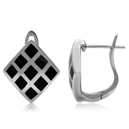 Created Black Onyx Inlay White Gold Plated 925 Sterling Silver English Hook Earrings