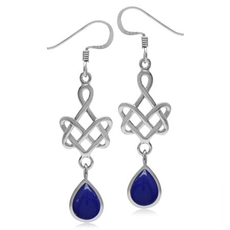 8x6MM Created Pear Shape Blue Lapis 925 Sterling Silver Celtic Heart Knot Dangle Hook Earrings