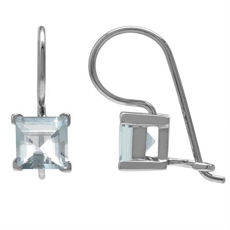 1.86ct. 6MM Genuine Square Shape Blue Aquamarine 925 Sterling Silver Hook Closure Earrings