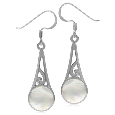9MM Round White Mother Of Pearl Inlay 925 Sterling Silver Filigree Swirl Cone Shape Dangle Earrings