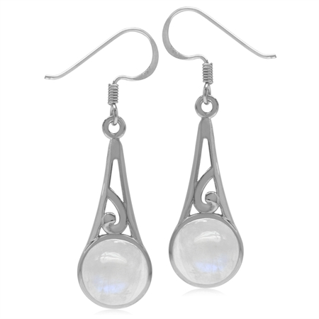 9MM Round Natural Moonstone 925 Sterling Silver Filigree Swirl Cone Shape Dangle Hook Earrings
