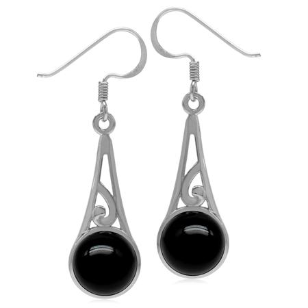 9MM Round Genuine Black Onyx 925 Sterling Silver Filigree Swirl Cone Shape Dangle Hook Earrings