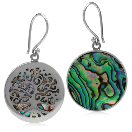 22MM Round Disc Shape Abalone/Paua Shell 925 Sterling Silver Tree of Life Dangle Hook Earrings