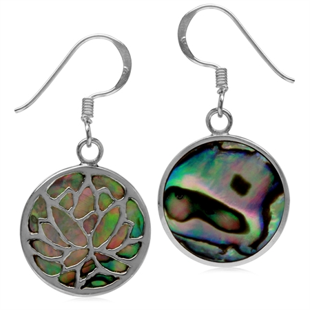 15MM Round Disc Shape Abalone/Paua Shell 925 Sterling Silver Tree of Life Dangle Hook Earrings