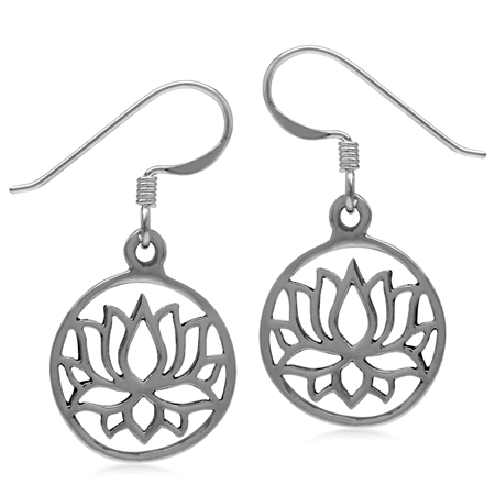 Blooming Lotus Flower in Circle 925 Sterling Silver White Gold Plated Fashion Dangle Hook Earrings