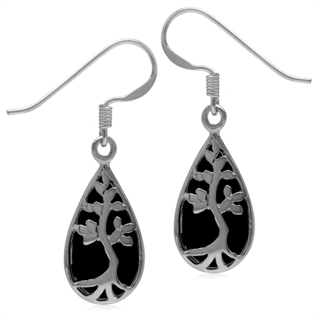 Created Black Onyx White Gold Plated 925 Sterling Silver Tree of Life Drop Dangle Hook Earrings